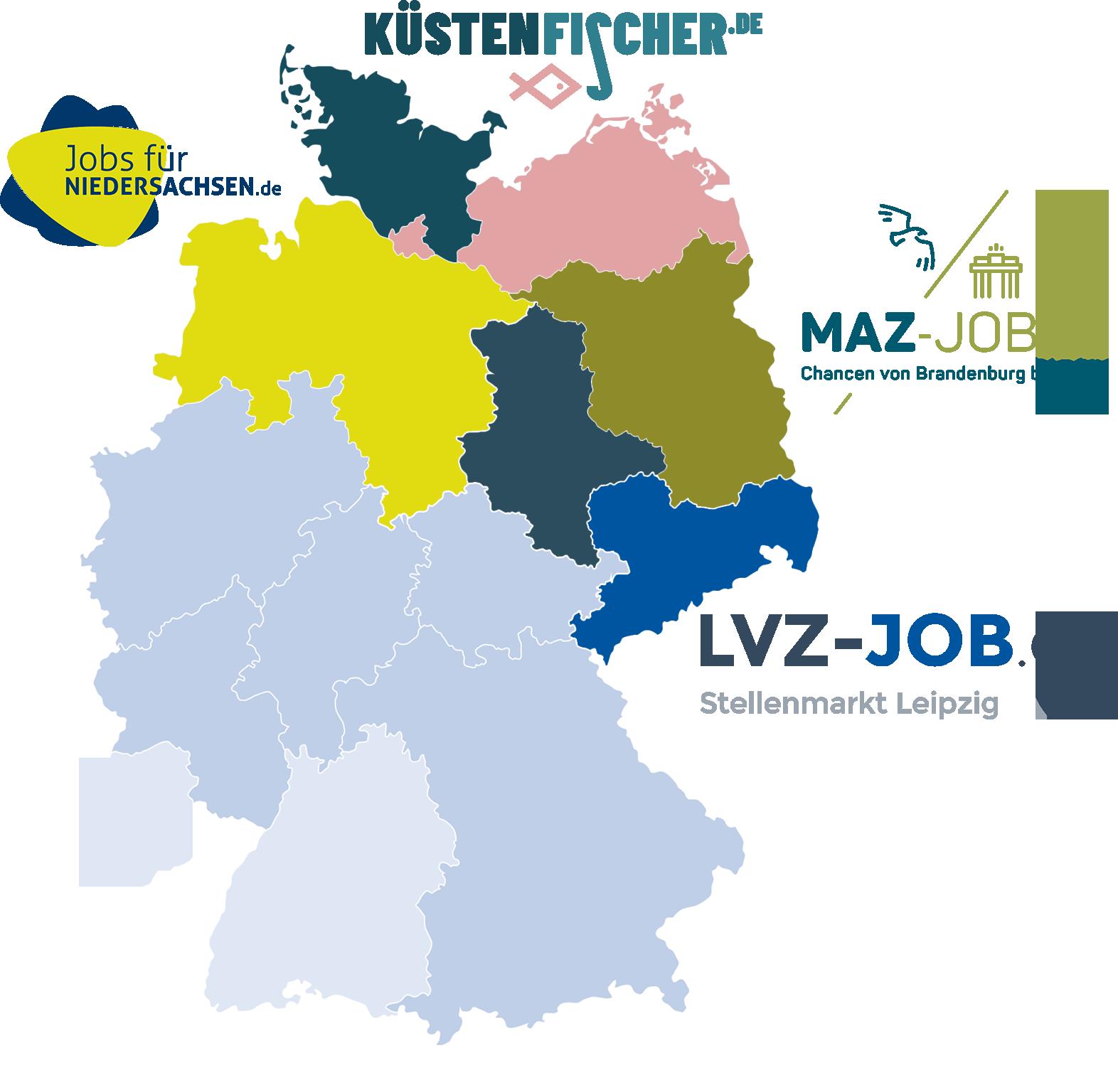 Verbreitungsgebiet der Madsack Titel auf einer Deutschland-Übersicht